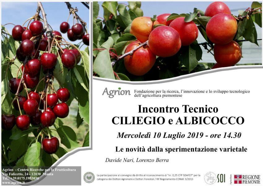 10/07/2019 – Incontro Tecnico Ciliegio e Albicocco (Manta CN, ore 14.30)