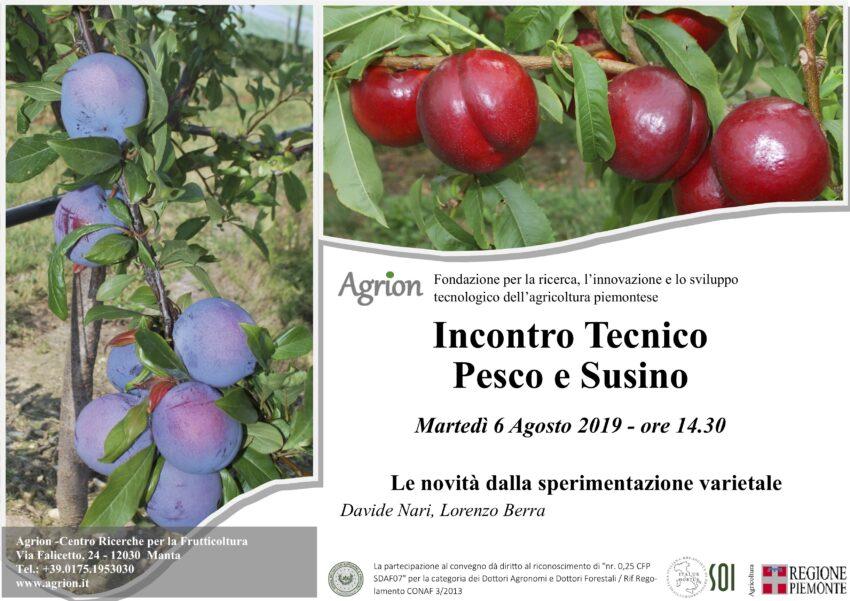 6/08/2019 – Incontro Tecnico Pesco e Susino (Manta CN, ore 14.30)